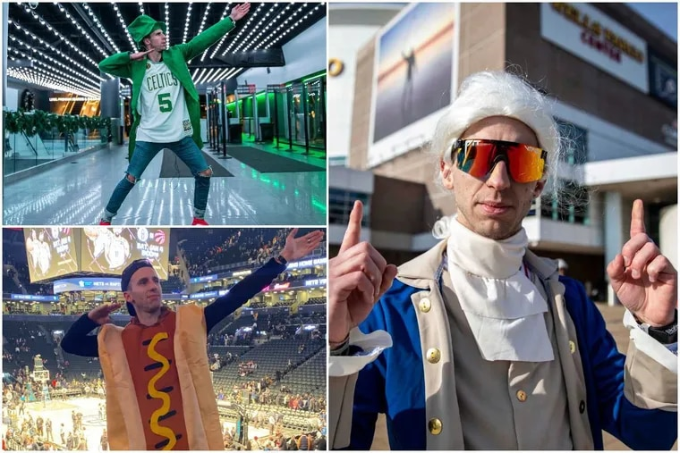 David DeLooper, 28, of Fishtown, is visiting 30 NBA arenas in 30 days dressed in costume to try and get on 30 Jumbotrons.