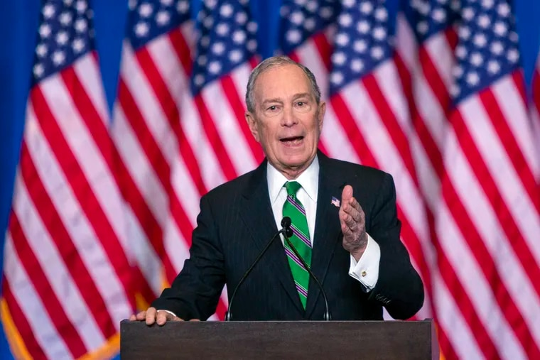 Former Democratic presidential candidate Mike Bloomberg speaks to supporters as he announces the suspension of his campaign and his endorsement of former Vice President Joe Biden for president in New York Wednesday , March 4, 2020.