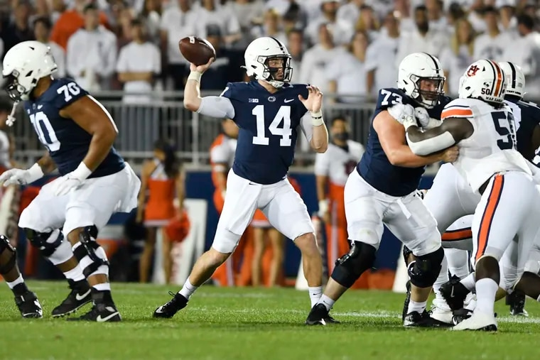Penn State quarterback Sean Clifford (14) passes against Auburn in State College, Pa., on Saturday, Sept. 18, 2021.