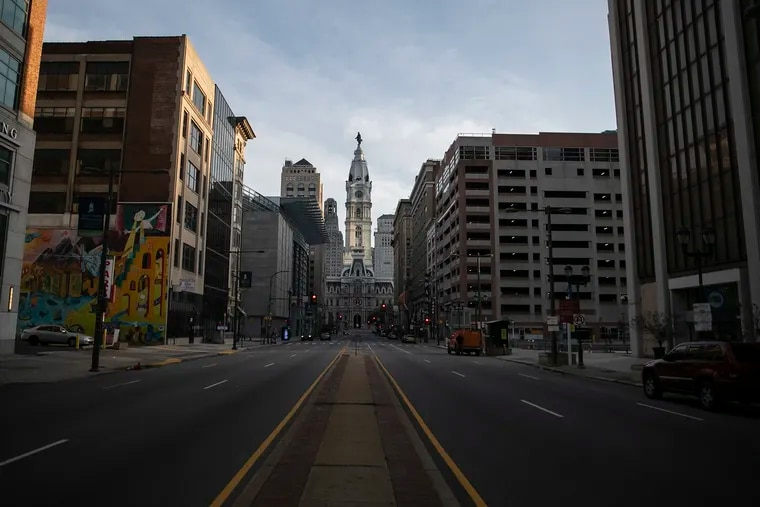An empty North Broad Street in Philadelphia is photographed March 24.