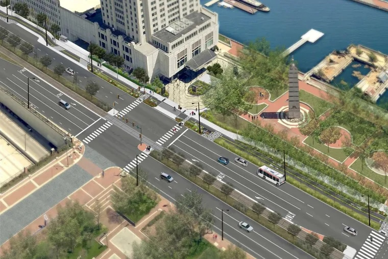 Artist's rendering of planned waterfront bike and pedestrian trail at corner of South Columbus Boulevard and Dock Street.