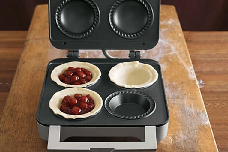 Catching the trend as it crests, Williams Sonoma offers the Breville Pie maker, which producers personal-size pies, four at a time, in eight minutes. Tasty - and kind of cute, too.