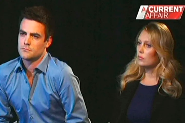 The Australian radio DJs at the center of the prank phone-call controversy, Michael Christian and Mel Greig, during a TV interview last week.