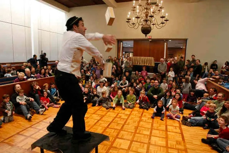 """Comedic juggler Michael Rosman was among the entertainers at the National Museum of Jewish American History's annual event. It's more meaningful than """"going to a movie and eating Chinese food,"""" one participant said."""