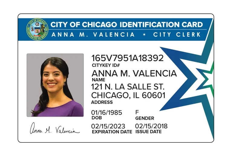 Philadelphia has hired the same vendor Chicago is using to distribute municipal ID cards to residents. This rendering shows an example of Chicago's card.