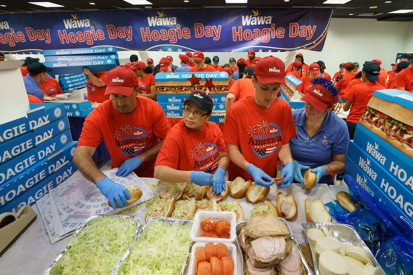 Philadelphians line up for 9 tons of free hoagies on Wawa's Hoagie Day
