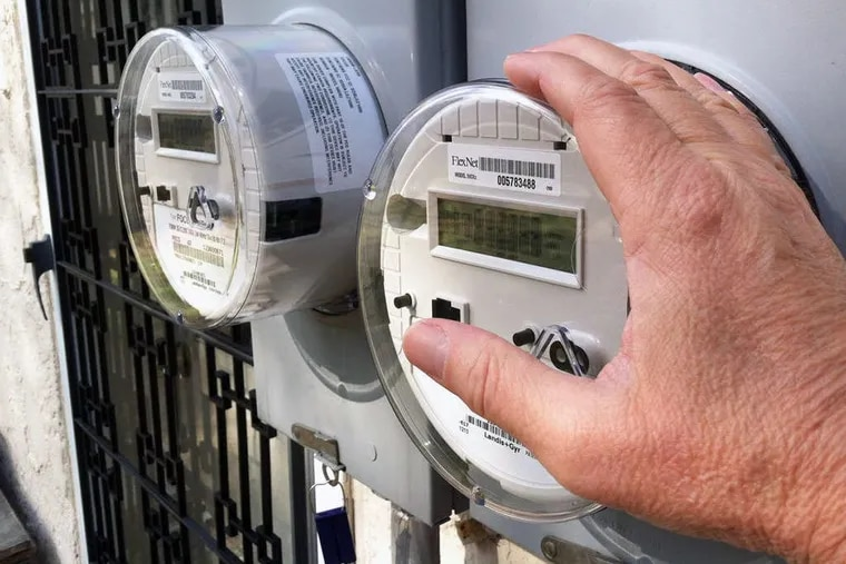 Peco smart meters on a house in Delaware County.