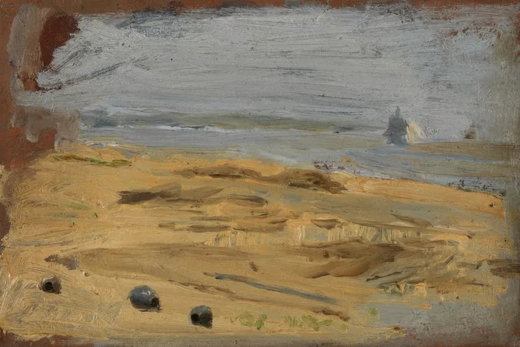 """Thomas Eakins' """"Shoreline of the Delaware River with Fishing Nets"""" circa 1881-82, oil on tan cardboard, in """"The Loaded Brush: The Oil Sketch and the Philadelphia School of Painting,"""" at PAFA."""