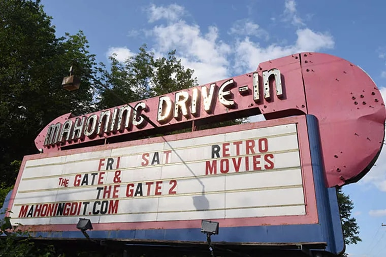 The Mahoning Drive-In main entry signage in Lehighton. (Bradley C Bower/For The Inquirer)