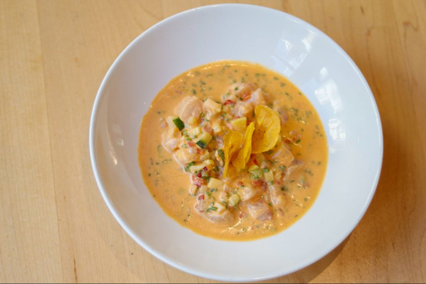Red snapper ceviche with hot peppers and a hint of coconut