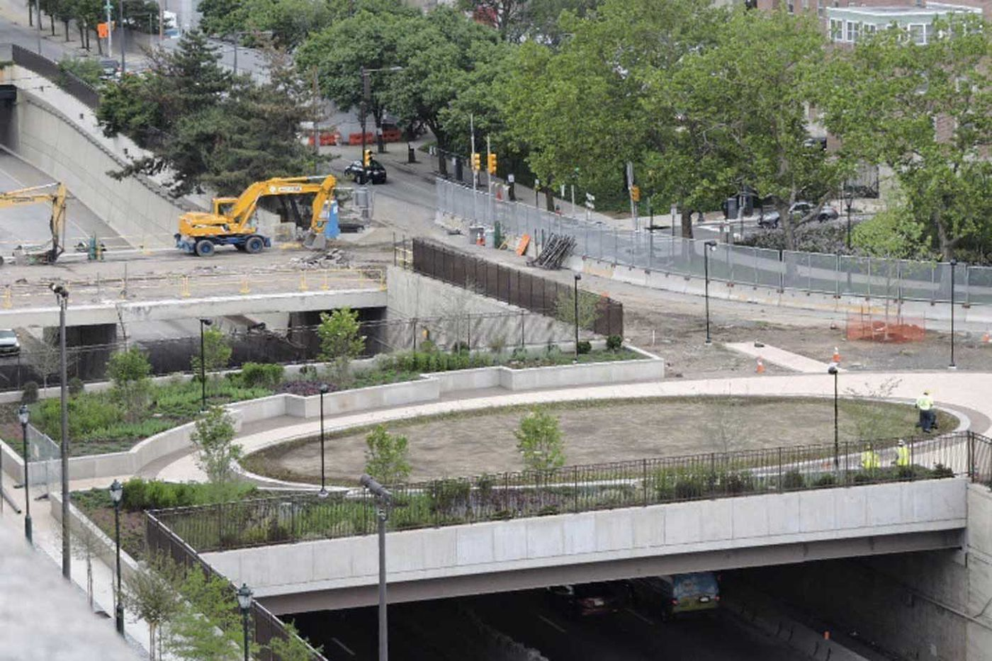 Rebuilt pedestrian bridge over I-676 is complete