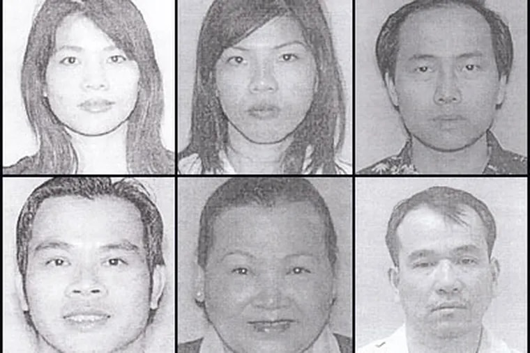 Six people have been charged in relation to a major marijuana bust in New Jersey. Top row, from left: Ngoc Bui, Quyhn Bui, and Tuan Dang. Bottom row, from left: Minh Bui, Nhung Thack, and Thu Nguyen.