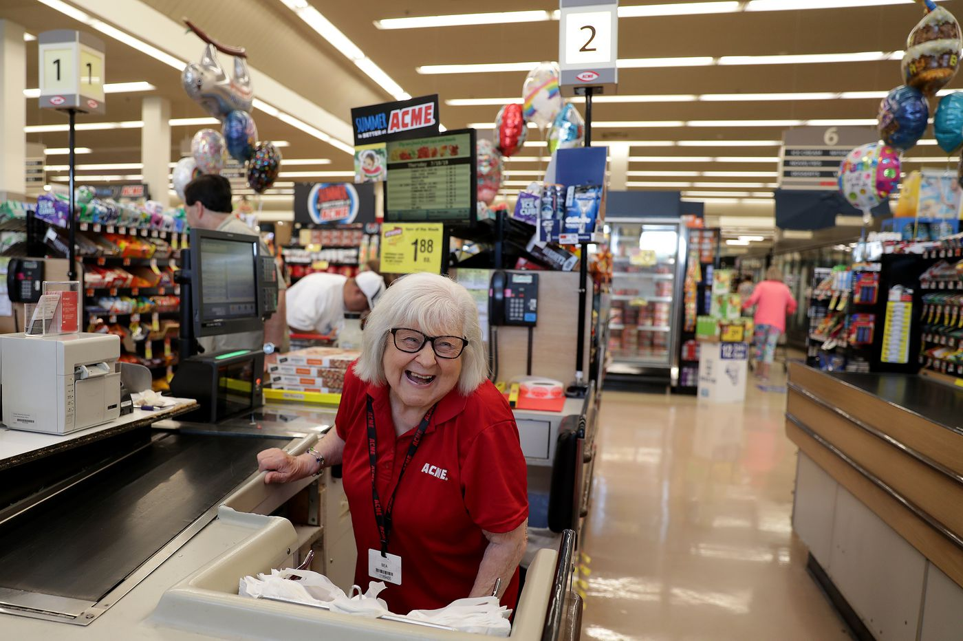 Acme cashier, who recently celebrated 90th birthday, still loves her work