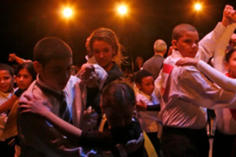 Fifth graders in the Dancing Classrooms Philly program show their mastery at the Merriam.