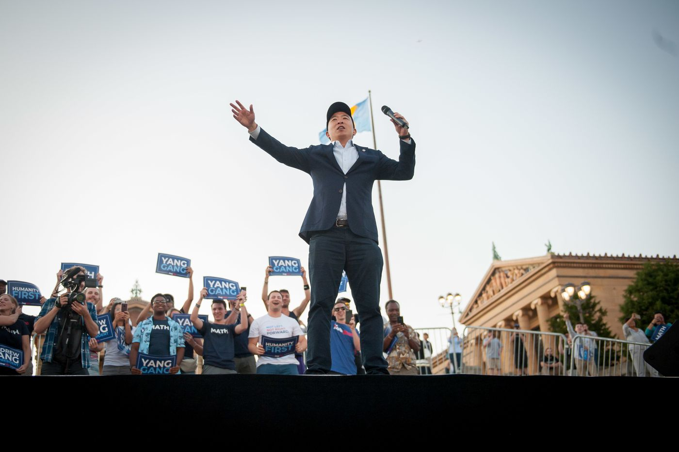 Andrew Yang celebrates 'nerdiest campaign in presidential history' at Rocky steps rally