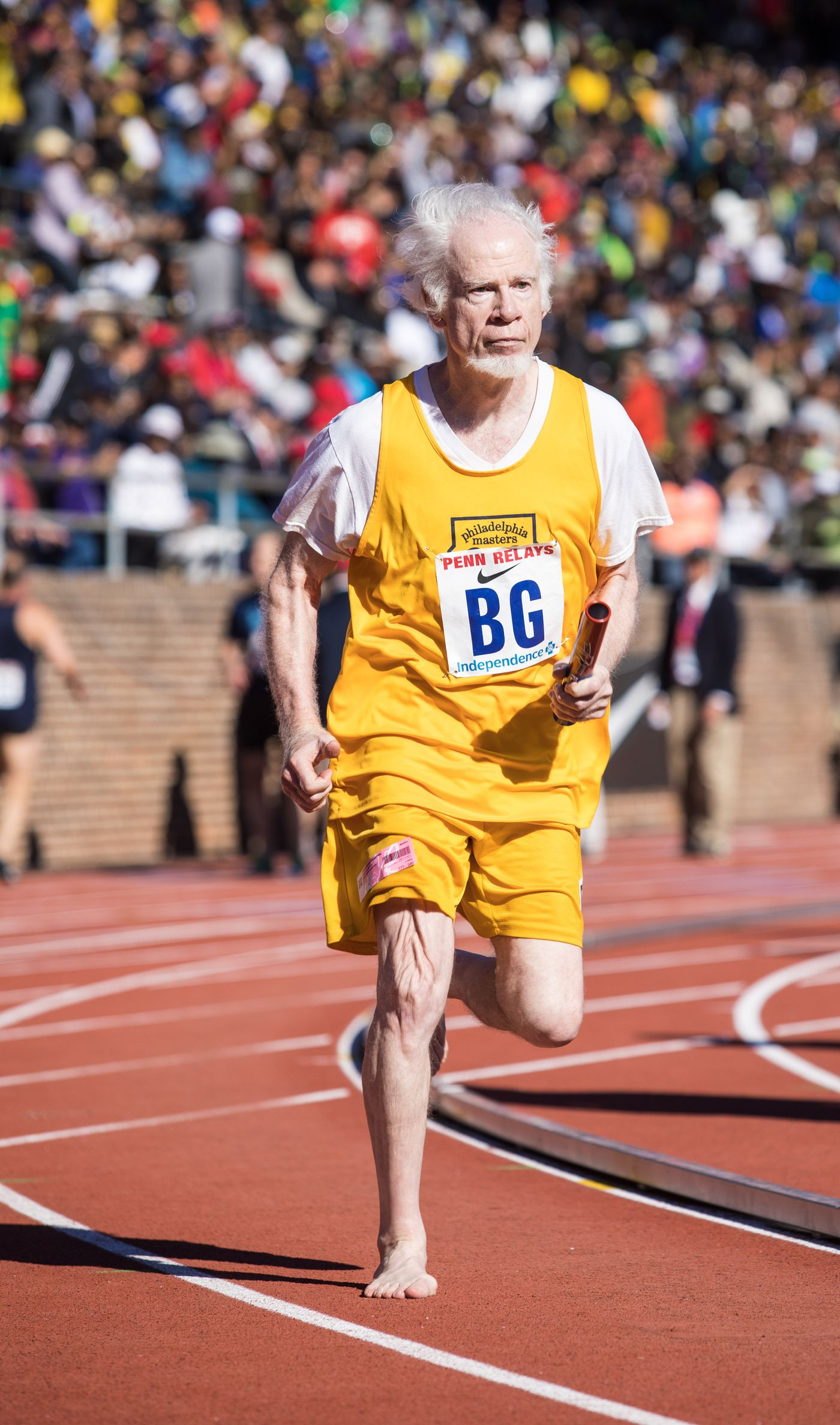 William Rhoad, 78, who runs barefoot, spent most of his life in Baltimore. He joined the Philadelphia Masters club about three years ago.
