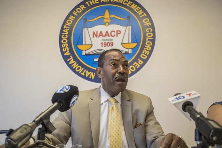 The NAACP will replace all leadership of its Philadelphia chapter including its president, Minister Rodney Muhammad, seen here speaking at a news conference in July of 2017.
