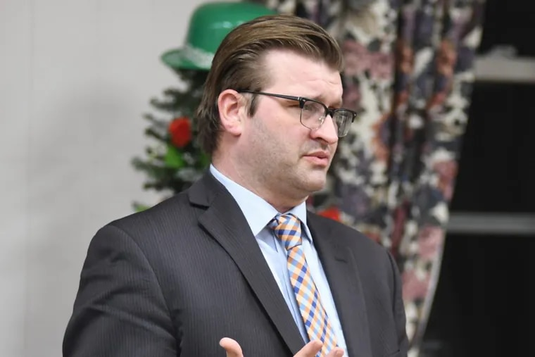 This March 1, 2018 photo shows Bedford County District Attorney Bill Higgins in Saxton, Pa. On Wednesday, April 4, 2018, Higgins was arraigned on 31 counts, including charges of witness intimidation, official oppression and obstruction. (Katie Smolen/Bedford Gazette via AP)