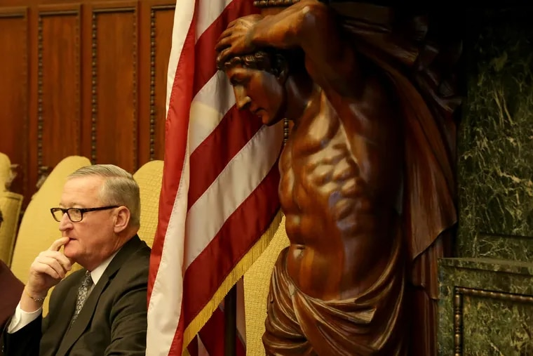 Philadelphia Mayor Jim Kenney's order to limit the city workforce to employees in essential services took effect Wednesday.