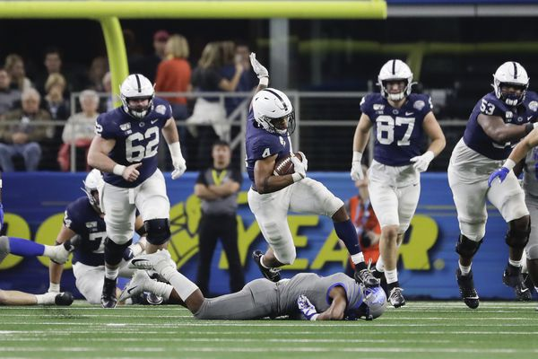 """The """"big boys"""" on the Penn State offensive line spark an overpowering rushing attack"""