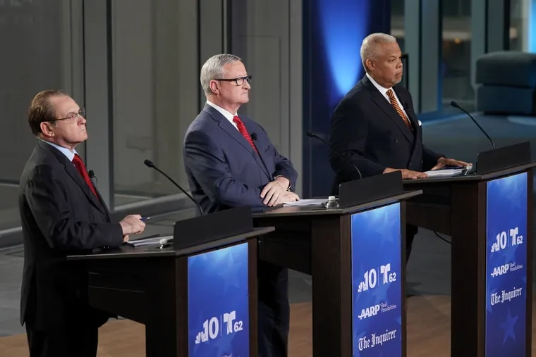 Former City Controller Alan Butkovitz (left), Mayor Jim Kenney (center) and State Sen. Anthony Hardy Williams (right) appear in the Democratic primary election's lone televised debate at NBC10 on Monday, May 13, 2019.