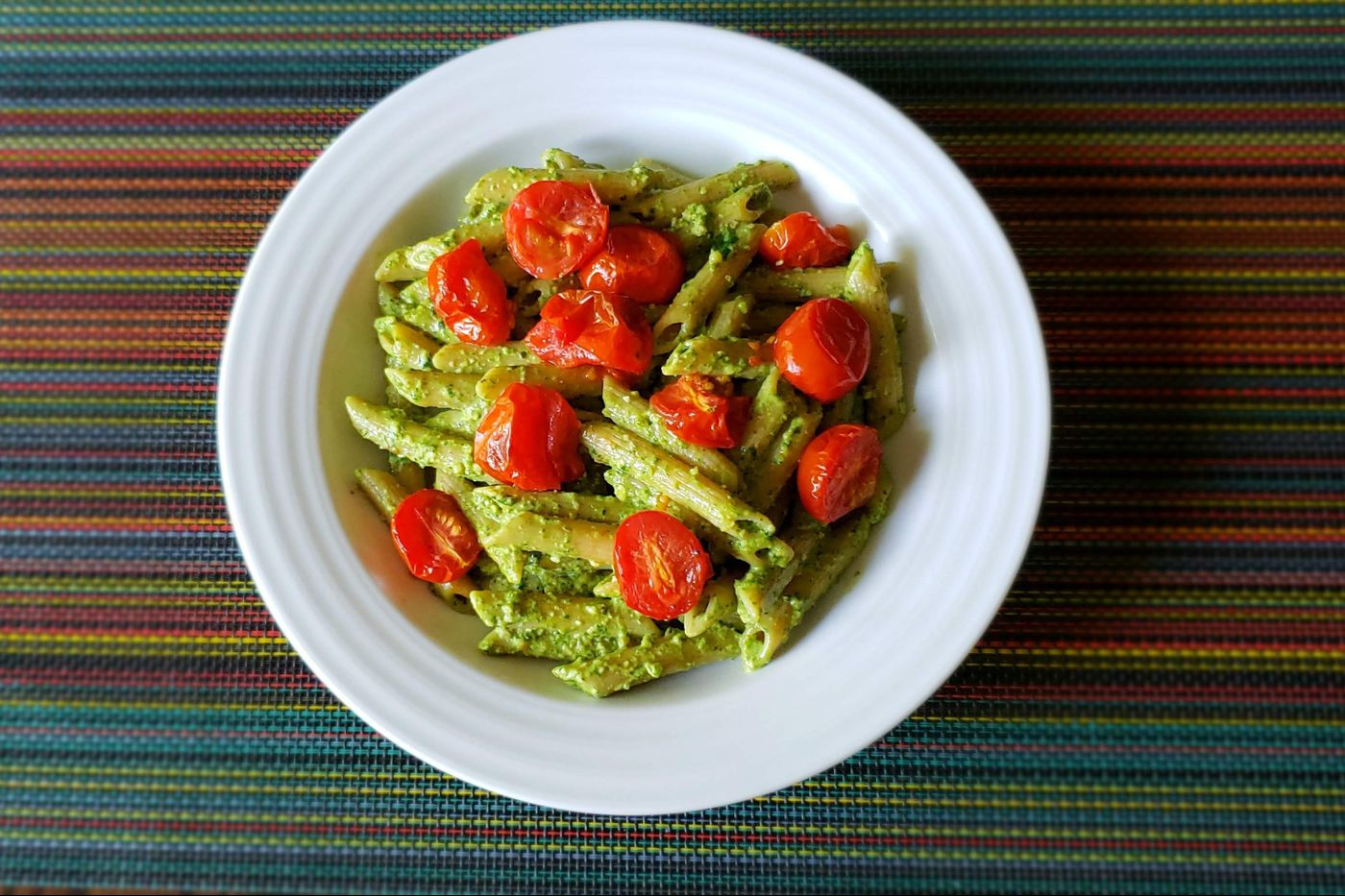Healthy family recipe: Peruvian pesto with penne and roasted tomatoes