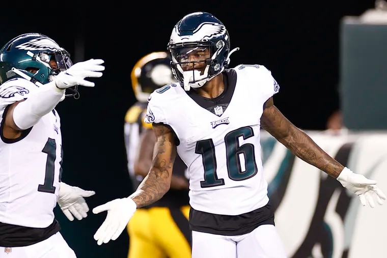 Eagles wide receiver Quez Watkins (right) celebrates his first quarter touchdown with teammate running back Kenneth Gainwell against the Pittsburgh Steelers in a preseason game at Lincoln Financial Field on Thursday, August 12, 2021.