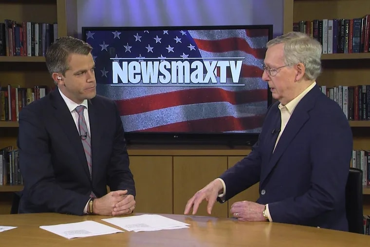 """Senate Majority Leader Mitch McConnell (R., Ky.) speaks to Newsmax host John Bachman during """"Newsmax Now"""" in the company's Boca Raton, Fla., studio."""
