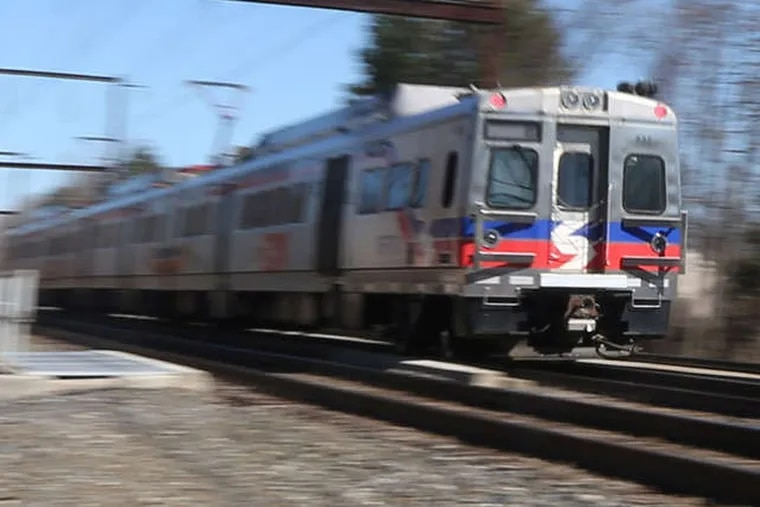 A SEPTA train in Langhorne. About 10 people a year die on railroad tracks in the Philadelphia area. Those near the Langhorne station have been especially deadly. The National Transportation Safety Board is holding its first forum on the issue nationally next week.