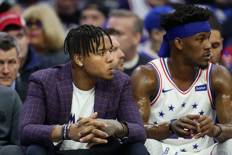 Markelle Fultz (left) hadn't played for the Sixers since November.