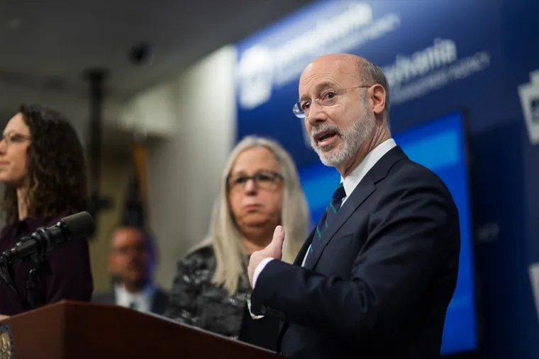 Gov. Tom Wolf speaks during a press conference in March.