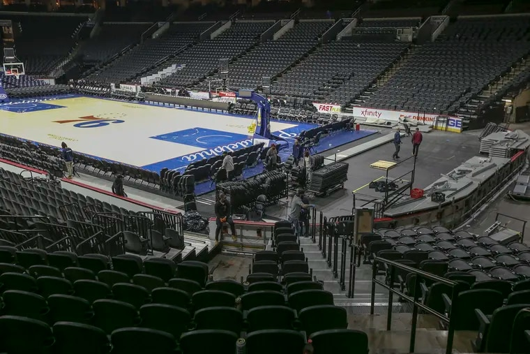 After the Sixers-Pistons game, the last game played at the Wells Fargo Center in Philadelphia, Wednesday, March 11, 2020.