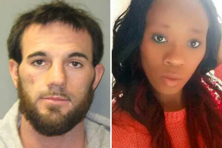 Kyle Crosby (left) is accused of killing his wife, Erica Crippen. (Photos from Burlington County Prosecutor's Office and Facebook)