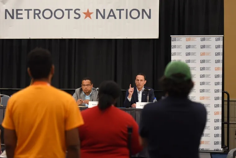 Josh Shapiro, Pennsylvania's Attorney General, responds to protesters at Netroots Nation Conference in the Convention Center.