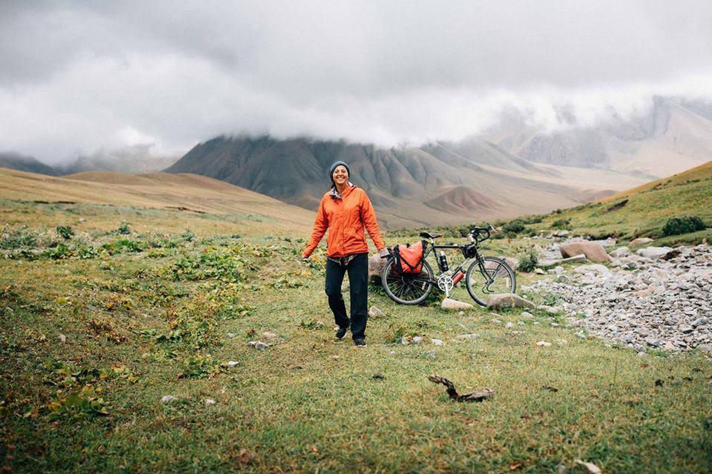 Nicole Heker during her 507-day, 6,351-mile solo journey via bicycle from the northern Thai city of Chiang Mai to the southern Portuguese city of Lagos.