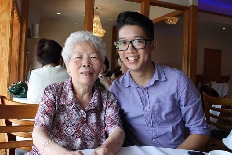 Shien Ching Shen at a restaurant in Chinatown with her grandson Kennth Lac.