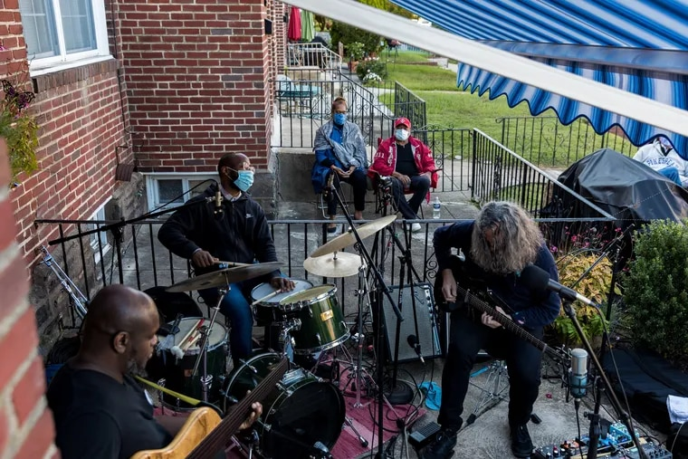 Bassist Anthony Tidd, drummer Anwar Marshall and guitarist Tim Motzer perform at Orrin Evans weekly home-based jazz concert known as Club Patio in Northwest Philadelphia during warmer weather.  Many entrepreneurs have started home-based businesses during the pandemic.