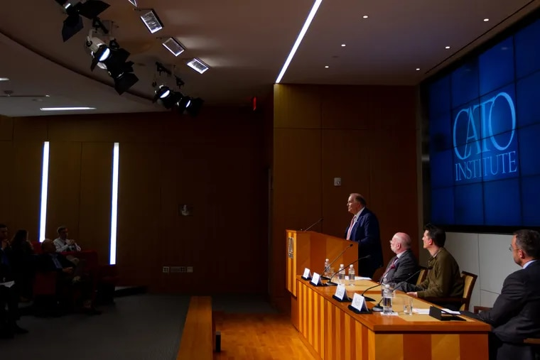 """Former PA Governor, Ed Rendell, speaks on a panel at the CATO Institute in Washington D.C., during an event titled """"Harm Reduction: Shifting from a War on Drugs to a War on Drug-Related Deaths"""", Thursday, March 21, 2019. Rendell discussed his time as Philadelphia Mayor, his work in enacting Prevention Point, and his hopes in starting safe injection sites in the city."""