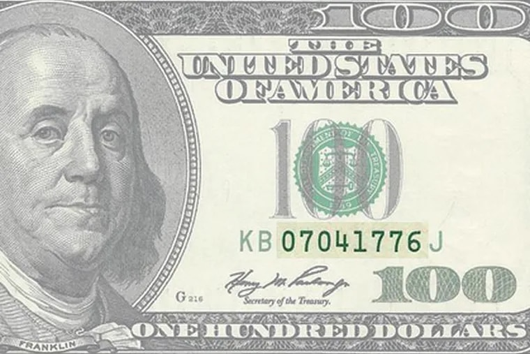 Notice the Independence Day serial number on this $100 bill, which bears the likeness of Founding Father Benjamin Franklin. Because of the serial number, this bill was offered on eBay Canada for $2,500.