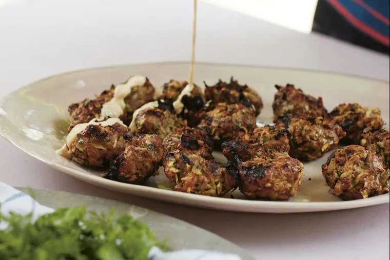"""Grilled Beef and Zucchini Meatballs with Tahini Dressing from """"Now and Again."""""""