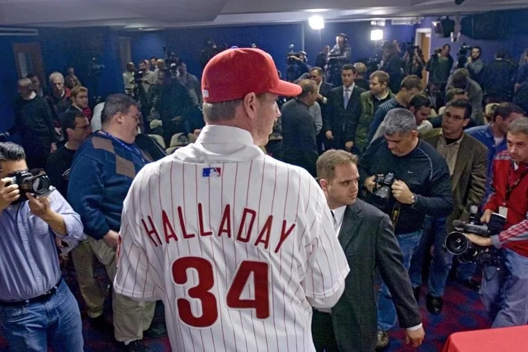 From Dec. 16, 2009: New Phillies ace Roy Halladay gets up from the press conference table after being introduced to, and taking questions from the media.