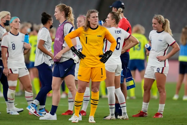 U.S. goalkeeper Alyssa Naeher (center) summed up her team's mood after its 3-0 loss to Sweden in its opening game of the Olympics.