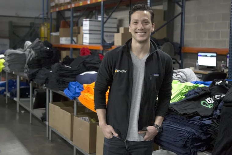 PrintFly CEO and cofounder Michael Nemeroff  stands amid his printed shirts empire in Northeast Philadelphia.