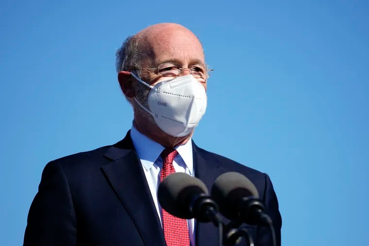 Gov. Tom Wolf announced on Thursday that applications were open for the newest round of rental assistance for tenants struggling financially because of the pandemic. Wolf is seen here outside a COVID-19 vaccination site in Reading on March 15.