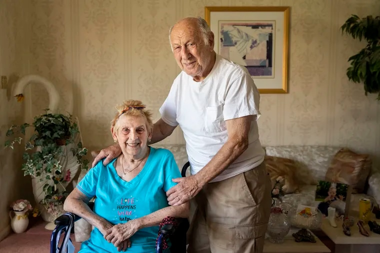 Doris and Arie Kasiarz at their home in Philadelphia. Arie, a Holocaust survivor, got the COVID-19 vaccination with the help of the Jewish Family and Children's Service of Greater Philadelphia. The pair has been married for 62 years.