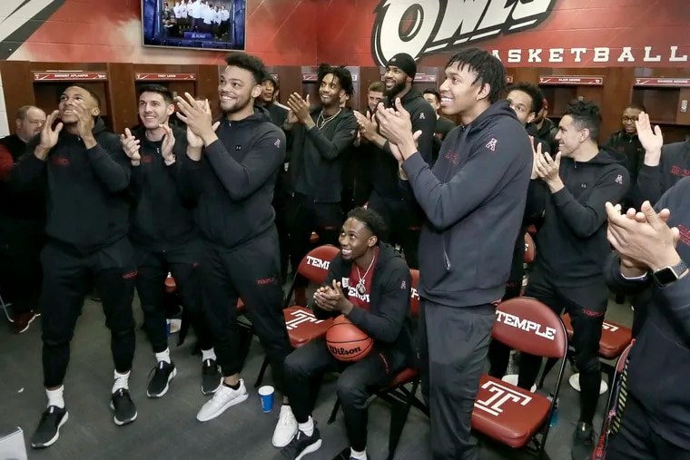 Members of the Temple mens basketball team have just learned they were being included in the NCAA tournament. The team watched the NCAA selection show in their locker room before meeting with the media at Temple's Liacouras Center in  Phila., Pa. on March 17, 2019.