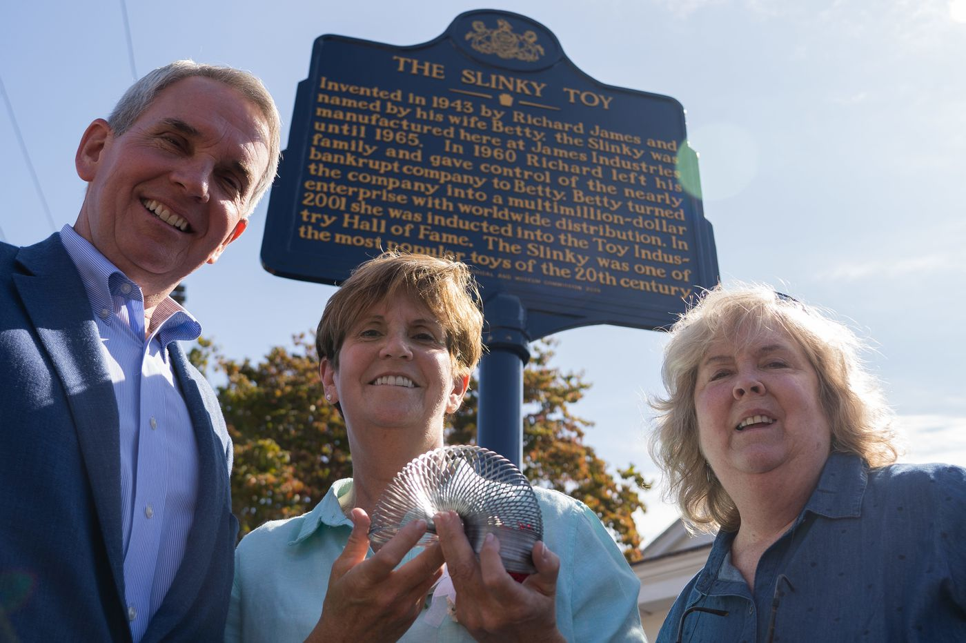 On National Slinky Day, the Delco-born toy gets its own historical marker