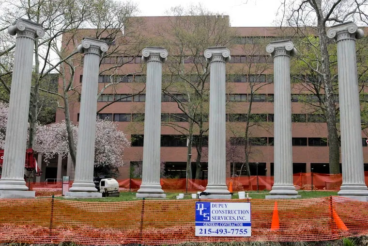 Einstein Medical Center returns  six, 24-feet tall marble columns to its Logan  campus.  The columns are from the demolished Second U.S. Mint building, that had been at Chestnut Street at Jupiter. (Valerie Russ / Daily News staff)