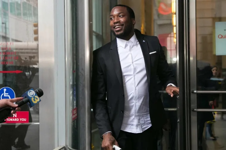 Rapper Meek Mill leaves the Criminal Justice Center after a hearing on whether Judge Brinkley should be removed from hearing his appeal, in Philadelphia, Thursday, May 24, 2018.