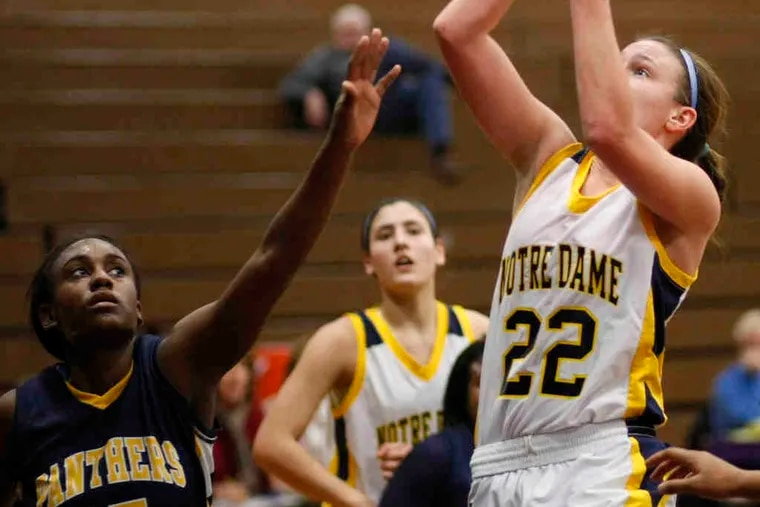 Notre Dame's Megan McGurk shoots over the outstretched Christina Coleman of Cheltenham. McGurk scored 21 points.